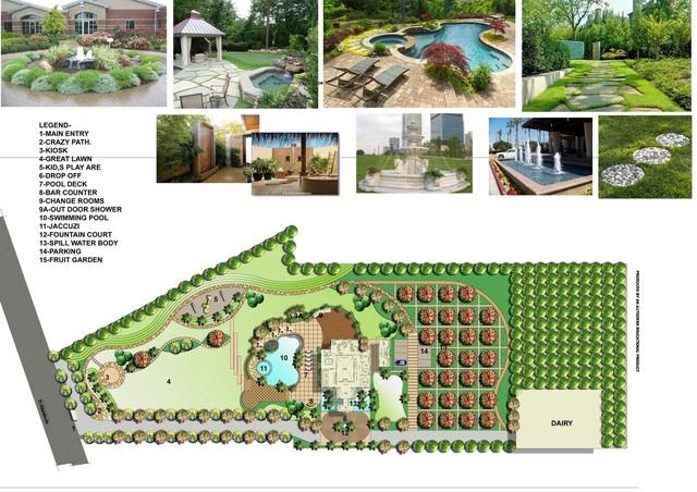 landscape design of a farmhouse