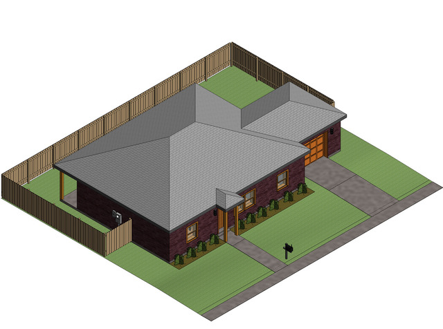 3 Bedroom 2 Bath House created in Revit
