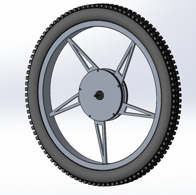 Wheel of bicycle with integrated hub motor and battery