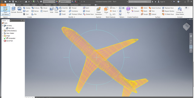 Aircraft point cloud design in inventor
