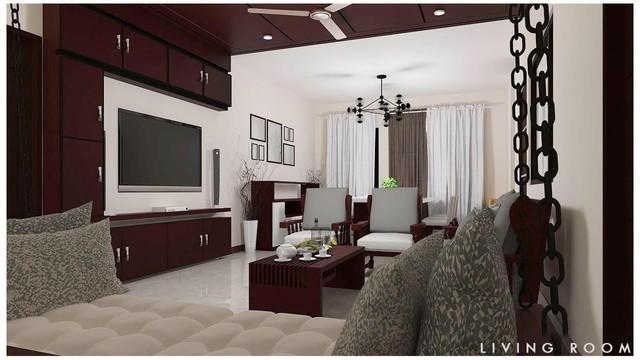 3D Rendered Living Room Design
