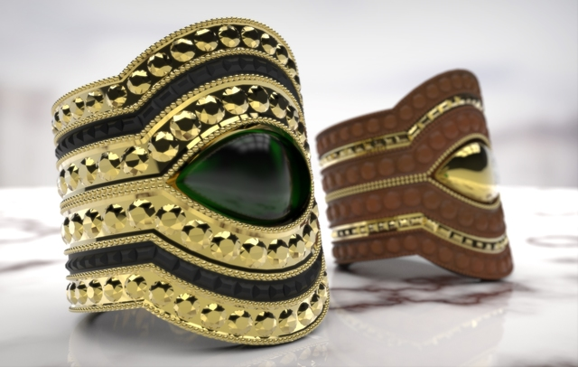Cuffs Gold and Leather