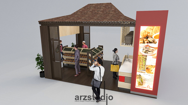 booth design comcept for otak-otak ase at bangka belitung airport-indonesia