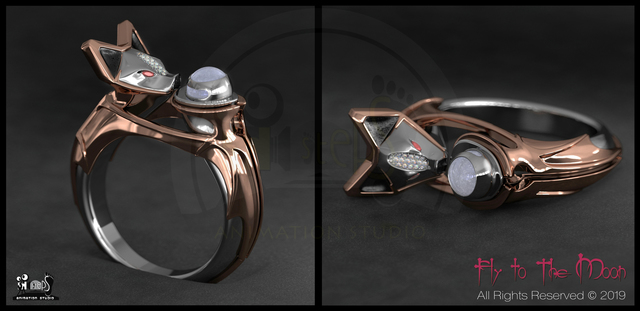 "3D Jewelry  Ring ""Fly To The Moon"""
