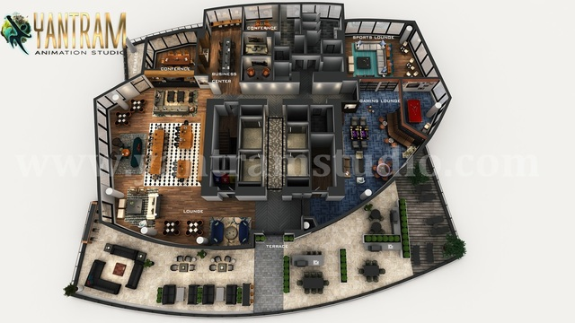 Professional 3D Virtual Floor Plan of Apartment's Rooftop Design with Terrace ideas by Architectural Design Studio, Dubai – UAE