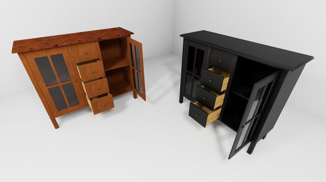 Traditional wooden cupboard drawers
