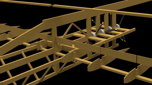 3D animation of a balsa wood  rc-aircraft construction