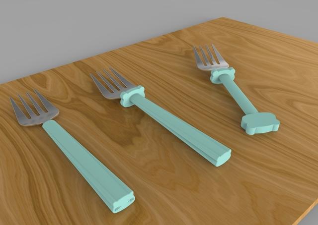 Fork/spoon set for children.