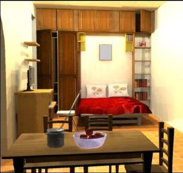 3D view of a Studio flat