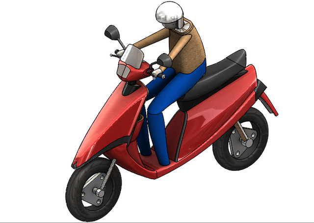 3D model of scooty with rider