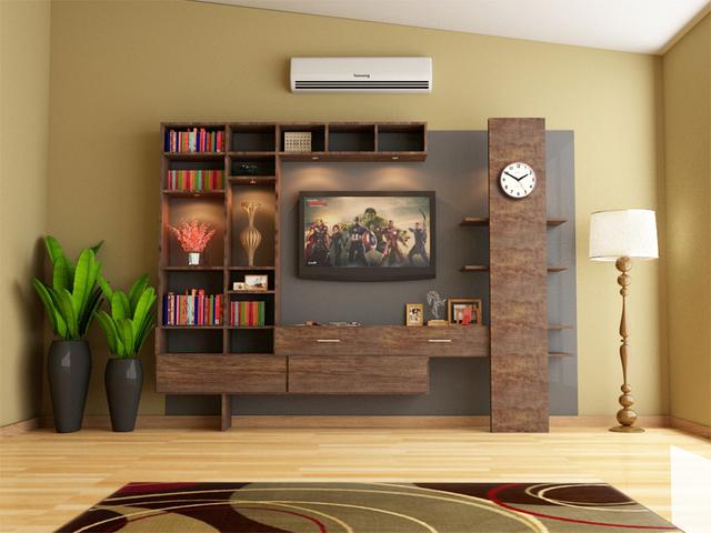 Media wall cabinet design.
