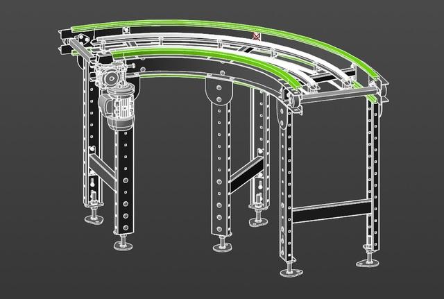 rotary conveyor on modular belt