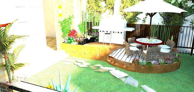 create garden design in Real landscape visualization