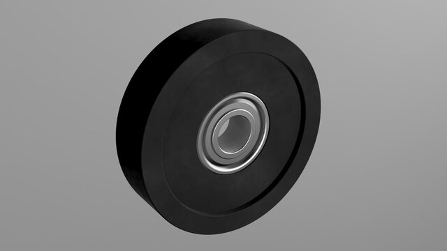 Rubber coated bearing pulley mechanical roller hard rubber guide wheel
