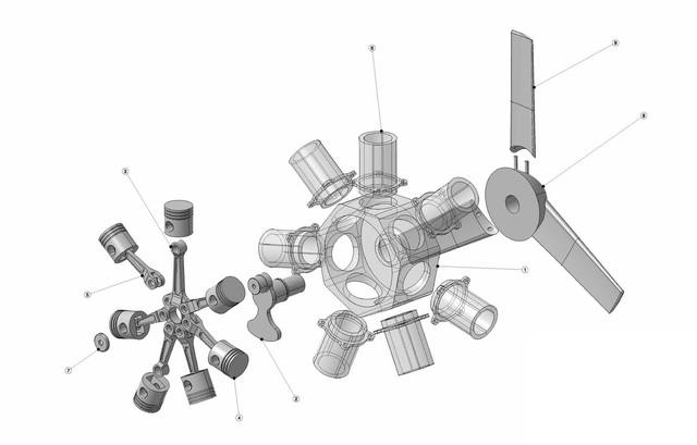 Radial engine 3D exploded view