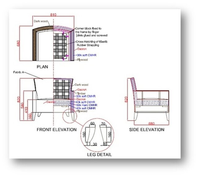 Working drawing of an Armchair