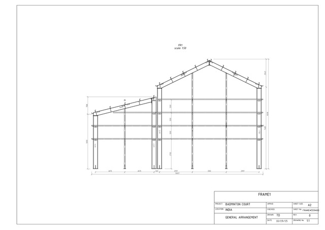 Steel shop drawing for Badminton Court