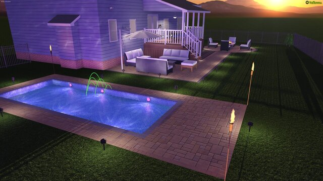 Building a pool with modern lights