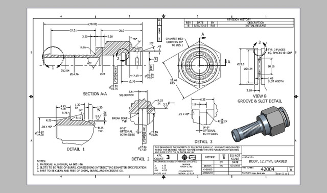 2D Connector Fabrication Drawing