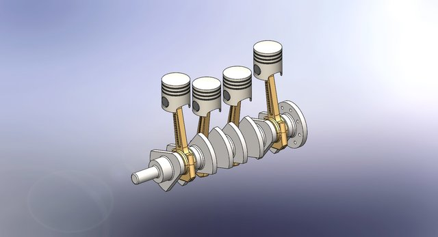 Four Piston Assembly With Crankshaft and Mechanism