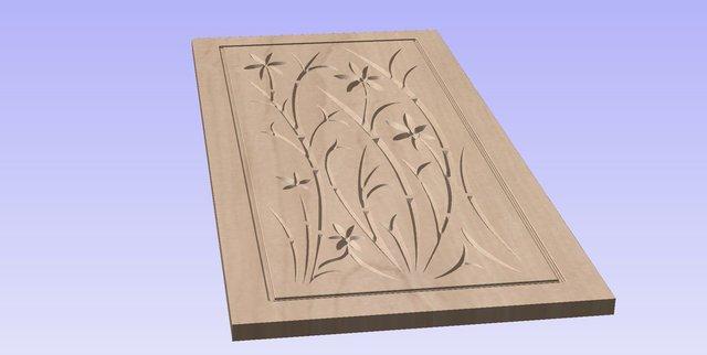 Door Design 001 - CNC Toolpath - Wood Carving