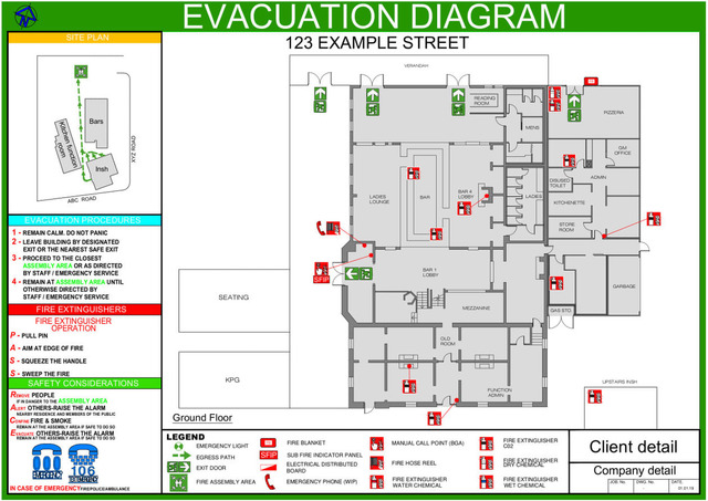 I will create emergency evacuation plans, fire escape plans