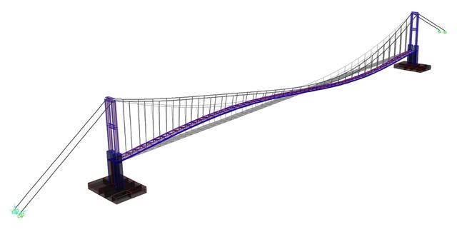 Suspension bridge over river Arda near  Madjarovo, Bulgaria