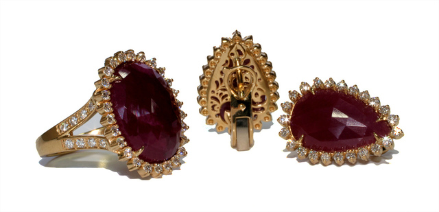 Set with rubies