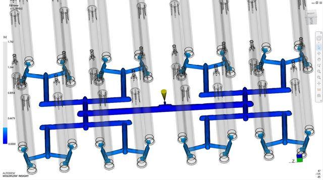 Injection mold simulation - Moldflow (Internal project, multi-cavity mold, filling optimization)