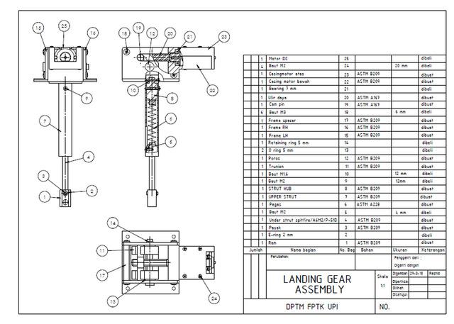LANDING GEAR AEROMODELLING 0.6-0.95 CU.IN ASSEMBLY