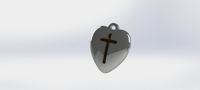 necklace pendant heart with cross