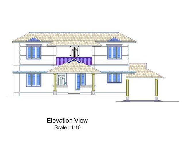 2D HOUSE PLAN AND ELEVATION