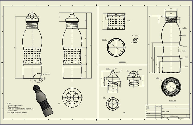 SS Water Bottle 3D Modelling And Drafting