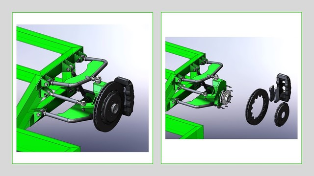 Car Chassis and Suspension Assembly