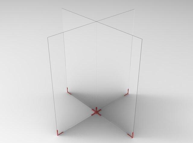 Acrylic sheet sneeze guard stand lean design