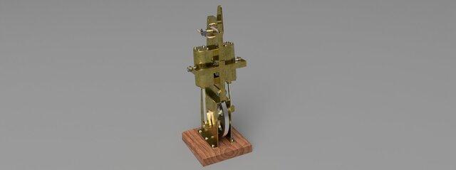 Vertical Slim Line Twin Cylinder Steam Engine