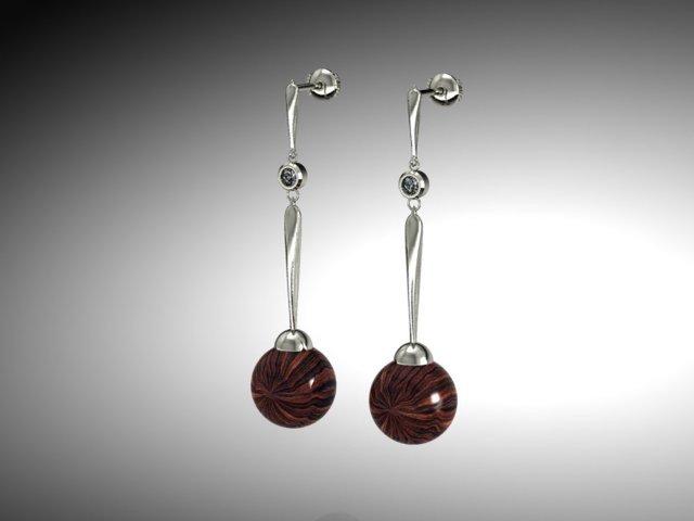 Drop earrings  sterling and ebony. 018