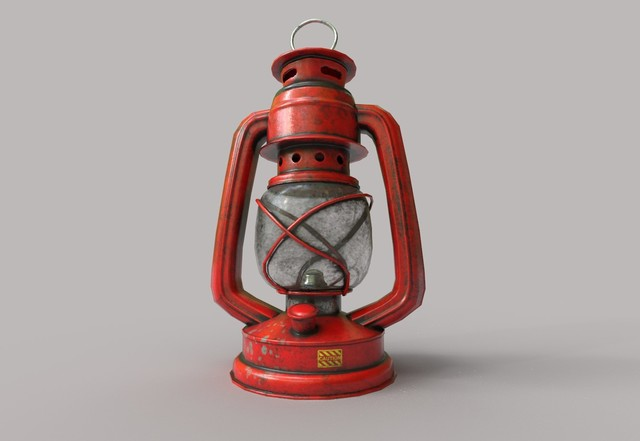 low-poly kerosene lantern