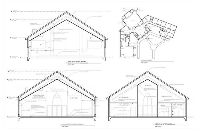 Commercial Longitudinal & Transverse Building Sections of Church Sanctuary