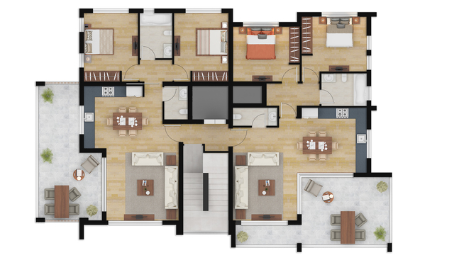 COLOR 2D FLOOR PLAN RENDERING SERVICES AUSTIN TEXAS