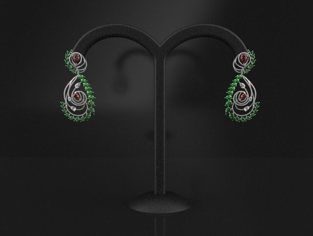 emerald , ruby and diamonds earrings