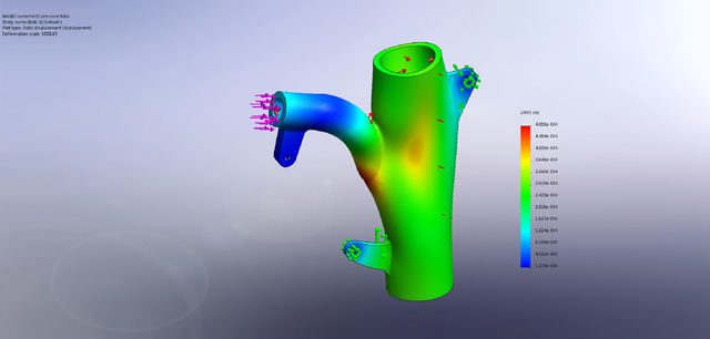Deflection exaggerated results - Internal pressure and a 500 lbf load with different loading lug designs - deflection