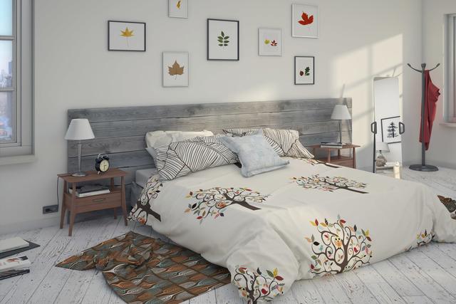 White bedroom scene