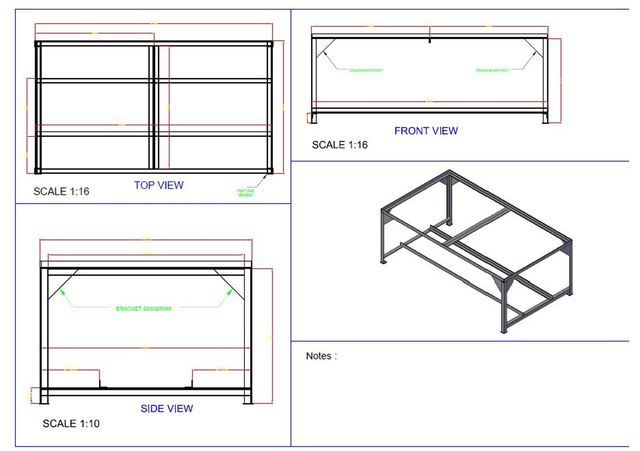 Bench fabrication drawing