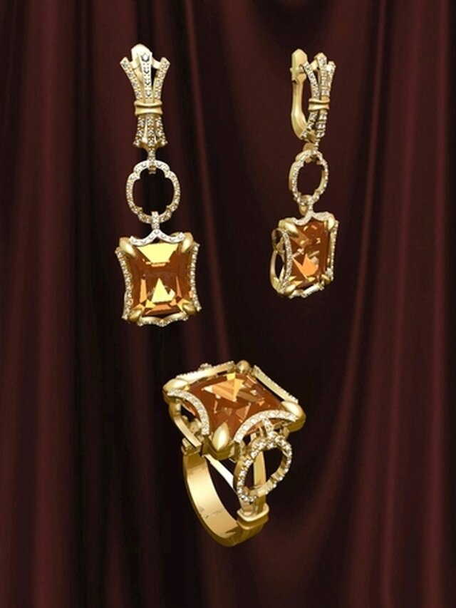 Ring and earrings with citrine. Created with 3DS MAX ...Кольцо и серьги с цитринами. Созданы с помощью 3ДS МАX...