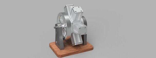 Pneumatic 6 Cylinder Radial Engine