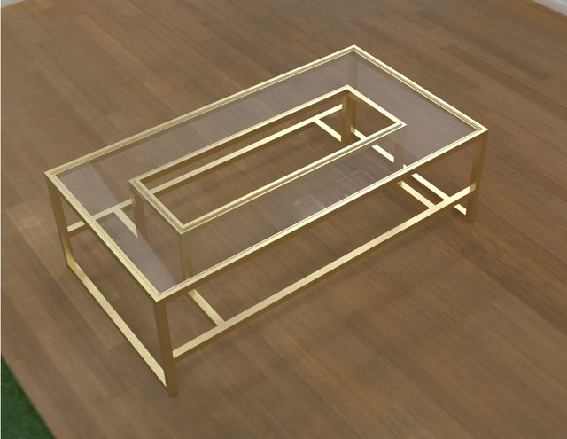 Coffee Table - Glass and Brass
