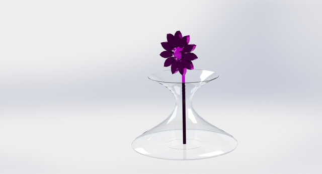 Vase and glass flower