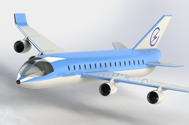 Lightning Blue Aeroplane Model