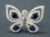 Butterfly ring, oval sapphires, round diamonds